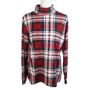 Lands  Relaxed Fit Plaid Turtleneck (M)